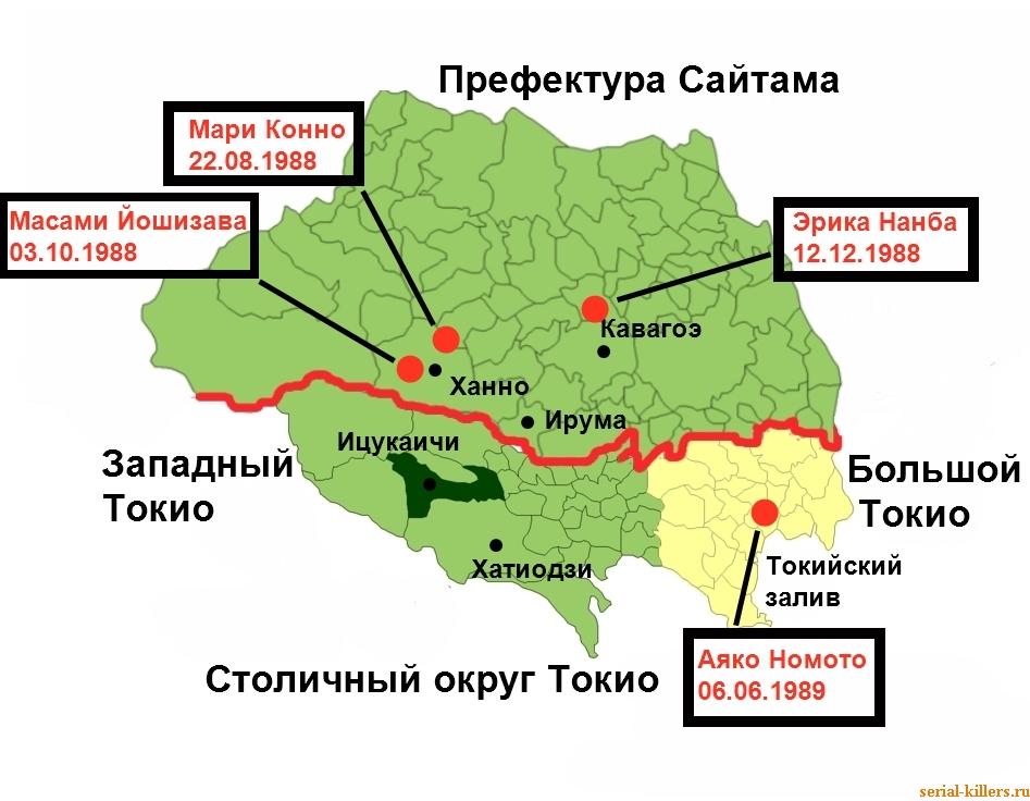 Схема района, в котором были совершены убийства